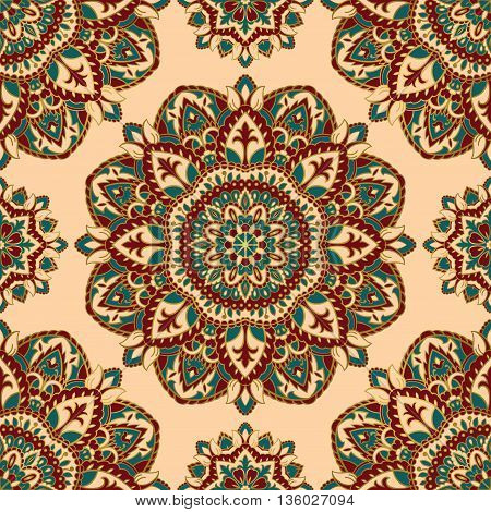 Oriental seamless pattern of mandalas. Vector ornate floral background. Template for textile carpet wallpaper shawls.