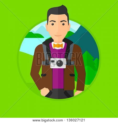 Young man with a digital camera on his chest. Tourist with a digital camera standing on the background of mountains and lake. Vector flat design illustration in the circle isolated on background.