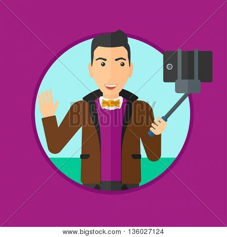 Smiling man making selfie with a selfie-stick. Man taking photo with cellphone. Young man taking selfie and waving. Vector flat design illustration in the circle isolated on background.