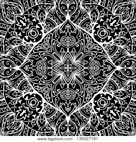 Template for the carpet mosaics shawls tiles cushions. Vector folk seamless black and white ornament. Oriental floral pattern with pomegranates.