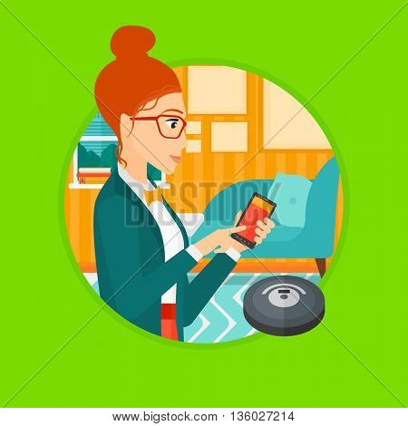 Young woman controlling robot vacuum cleaner with her smartphone. Woman holding remote control of robotic vacuum cleaner. Vector flat design illustration in the circle isolated on background.