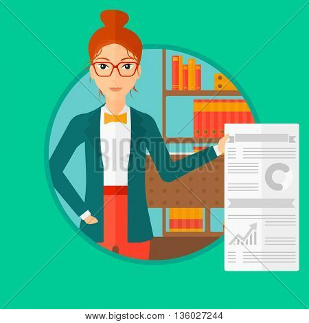 Young woman showing her business presentation with some text and charts. Woman giving a business presentation in the office. Vector flat design illustration in the circle isolated on background.