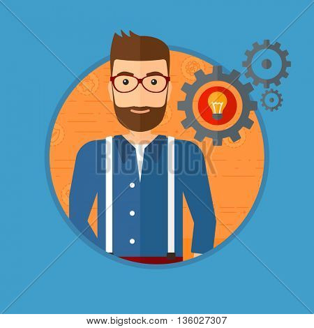A hipster man with business idea bulb in gear. Young businessman having a business idea. Successful business idea concept. Vector flat design illustration in the circle isolated on background.