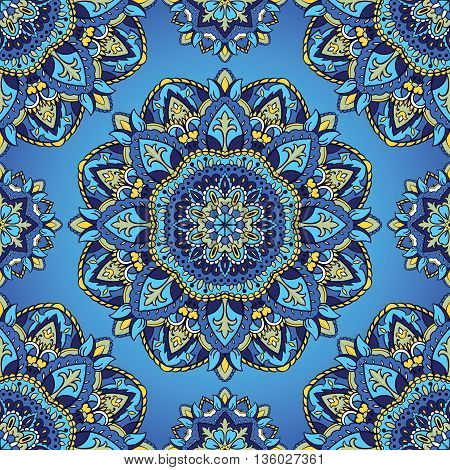 Oriental seamless pattern of mandalas. Vector blue background. Template for textile carpet wallpaper shawls.
