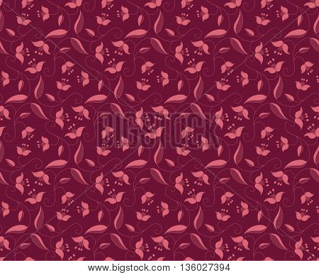 Stylized floral ornament. Vector seamless burgundy pattern. Template for textile shawl wallpaper carpet.
