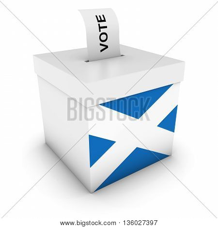 Scottish Elections Ballot Box With Flag Of Scotland 3D Illustration