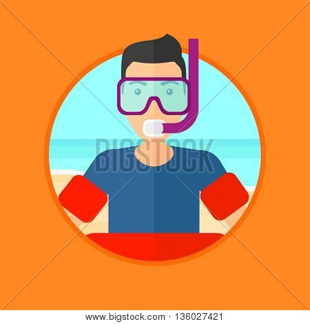 Man in mask, tube and rubber ring standing on the background of beach and sea. Man wearing snorkeling equipment on the beach. Vector flat design illustration in the circle isolated on background.