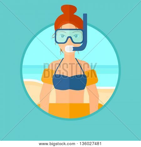 Woman in mask, tube and rubber ring standing on the background of beach and sea. Woman wearing snorkeling equipment on the beach. Vector flat design illustration in the circle isolated on background.