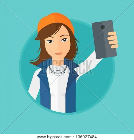 Woman making selfie. Young woman taking photo with cellphone. Woman looking at smartphone and taking selfie. Vector flat design illustration in the circle isolated on background.
