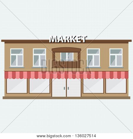 Building of market with wide windows. Grocery Shop icon. Facade of market building. Flat vector illustration.
