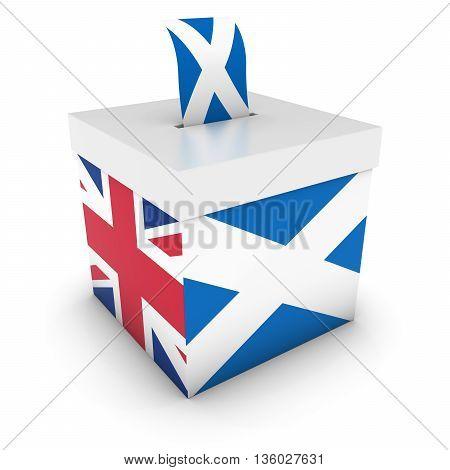 Vote For Scotland - Scottish Uk Referendum Ballot Box With Flags 3D Illustration