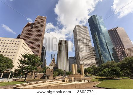 View of Houston downtown district. Texas United States