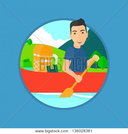 Young man riding in a kayak on the river with a skull in hands and some tourist equipment behind him. Man traveling by kayak. Vector flat design illustration in the circle isolated on background.