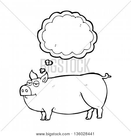 freehand drawn thought bubble cartoon huge pig