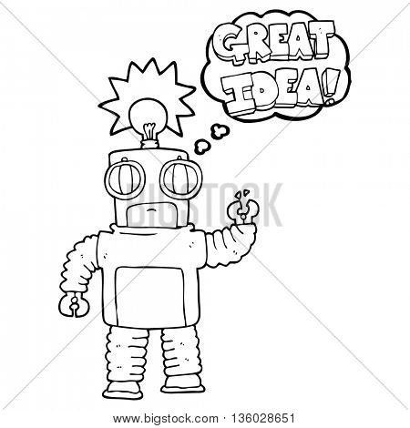 freehand drawn thought bubble cartoon robot with great idea