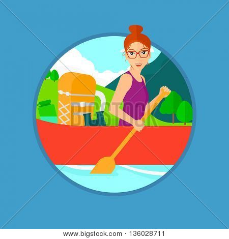 Young woman riding in a kayak on the river with a skull in hands and some tourist equipment behind her. Woman traveling by kayak. Vector flat design illustration in the circle isolated on background.