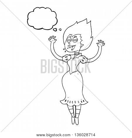 freehand drawn thought bubble cartoon vampire girl with bloody mouth