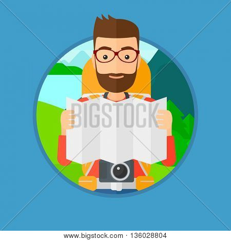 Traveler with backpack and camera looking at map. Hipster man travelling in mountains. Traveler searching right direction on map. Vector flat design illustration in the circle isolated on background.