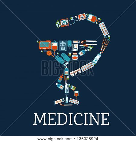 Medicine and pharmacy symbol with bowl of hygeia silhouette composed of flat icons of medicines, stethoscope and blood bags, dentist instruments and teeth with braces, x rays, blood pressure and ecg monitors