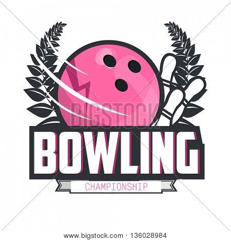 Bowling logo design template, emblem tournament.