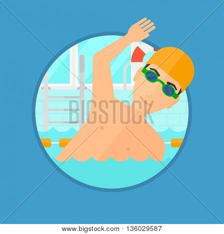 Young sportsman wearing cap and glasses swimming in pool. Professional male swimmer in swimming pool. Vector flat design illustration in the circle isolated on background.