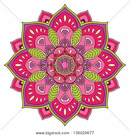 Pink abstract round pattern. Colorful decorative element for design. Vector mandala.