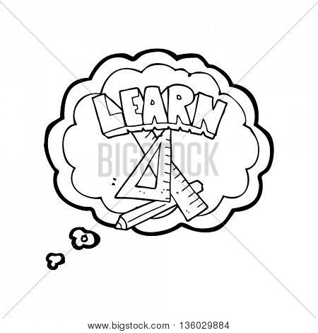 freehand drawn thought bubble cartoon pencil and ruler under Learn symbol