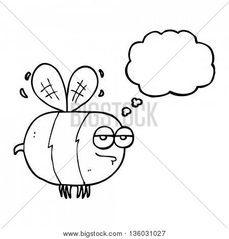 freehand drawn thought bubble cartoon unhappy bee