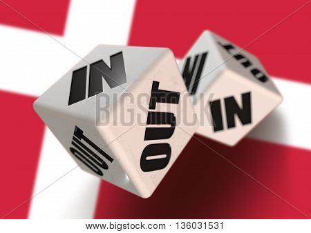 In or Out vote on dice for concept of Denmark leaving the European Union with Danish flag in the background. Concept for citizens voting for independence and exiting the EU. Dexit.