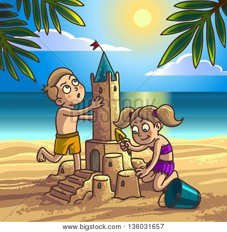 Boy and girl are building sandcastle