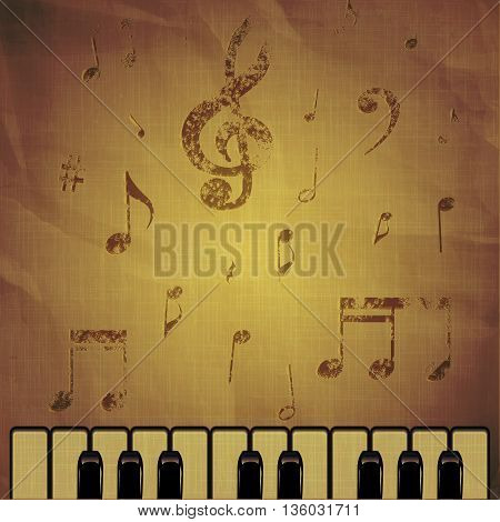 Vector illustration of piano keys on an old crumpled paper background with music notes.