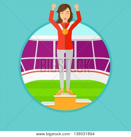 Sportswoman celebrating on the winners podium. Sportswoman with gold medal and hands raised standing on the winners podium. Vector flat design illustration in the circle isolated on background.