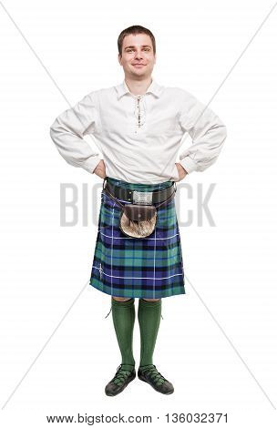 Scottish Man In Traditional National Costume