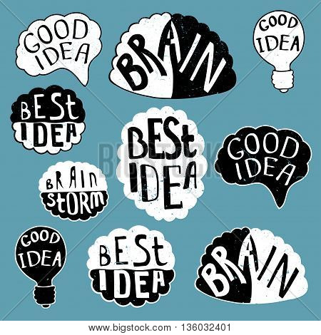 Set of labels with texts Human brain with text - Best Idea Good Idea Brain Bulb - Good Idea. Conceptual vector illustration for creative brainstorm metaphor.