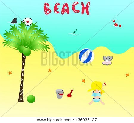 Little girl in cute swimming suit is playing on the beach. There are some beach stuff around her.