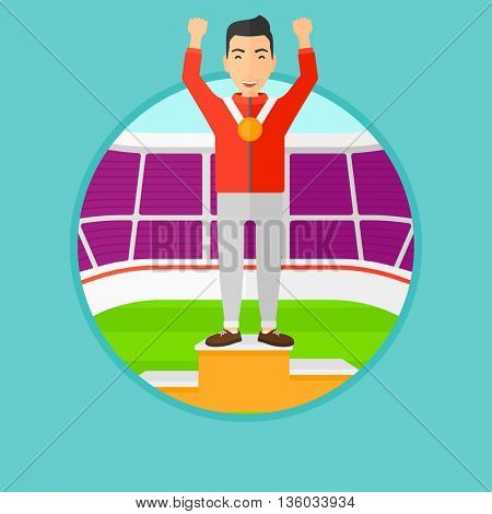 Sportsman celebrating on the winners podium. Man with gold medal and hands raised standing on the winners podium. Winner concept. Vector flat design illustration in the circle isolated on background.