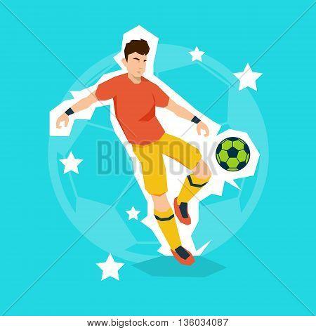 Football Player Kick Ball Sport Championship Flat Vector Illustration