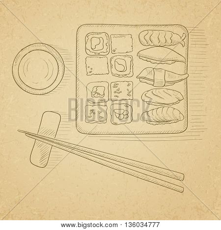 Various kinds of sushi served on a plate. Sushi hand drawn on old paper vintage background. Sushi vector sketch illustration.
