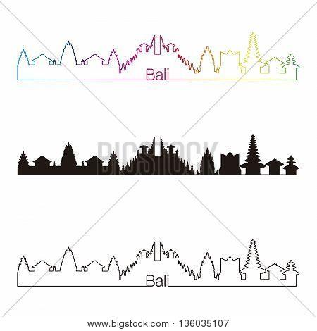 Bali skyline linear style with rainbow in editable vector file