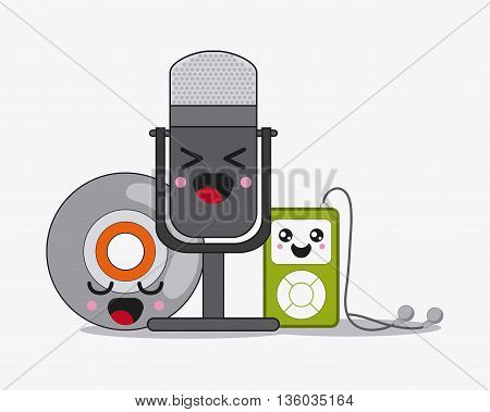 Kawaii and technology concept represented by microphone, cd, and mp3 cartoon icon. Colorfull and flat illustration