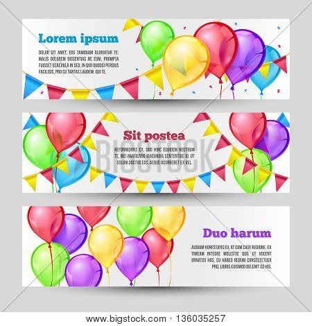 Horizontal holiday banners with color balloons. Vector template design. Banner birthday, banner festive, banner party, balloon air, festival ballon air illustration