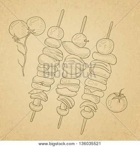 Shish kebabs on skewers. Shish kebabs hand drawn on old paper vintage background. Shish kebabs vector sketch illustration.