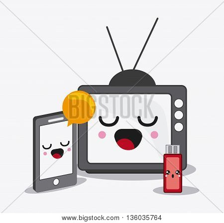 Kawaii and technology concept represented by tv, usb, smartphone, bubble, and usb cartoon icon. Colorfull and flat illustration