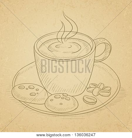 Coffee cup with biscuits and coffee beans on saucer. Coffee hand drawn on old paper vintage background. Coffee vector sketch illustration.