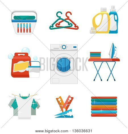 Laundry flat icons. Washing and laundry signs. Laundry clean icon, laundry machine, appliance washing and laundry. Vector illustration