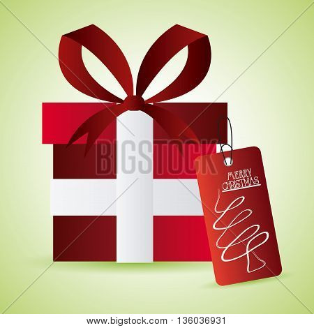 Merry Christmas concept represented by gift icon. Colorfull and flat illustration