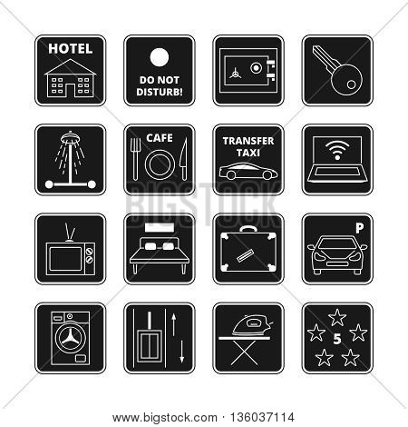 Hotel vector black icons. Service hotel, travel service hotel, hotel icon service, shower and tv illustration