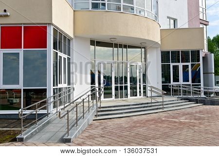 entrance to building with glass doors