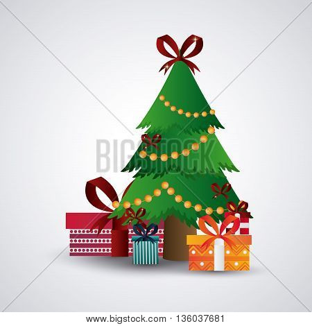 Merry Christmas concept represented by pine tree with gifts icon. Colorfull and flat illustration