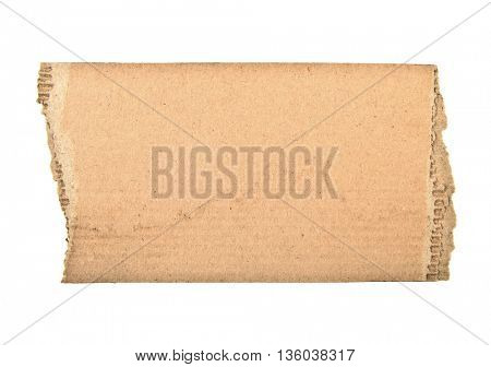 ripped cardboard piece isolated on white